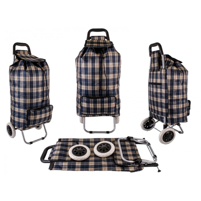 ST-CH-02 BROWN CHECK 2 WHEEL SHOPPING TROLLEY