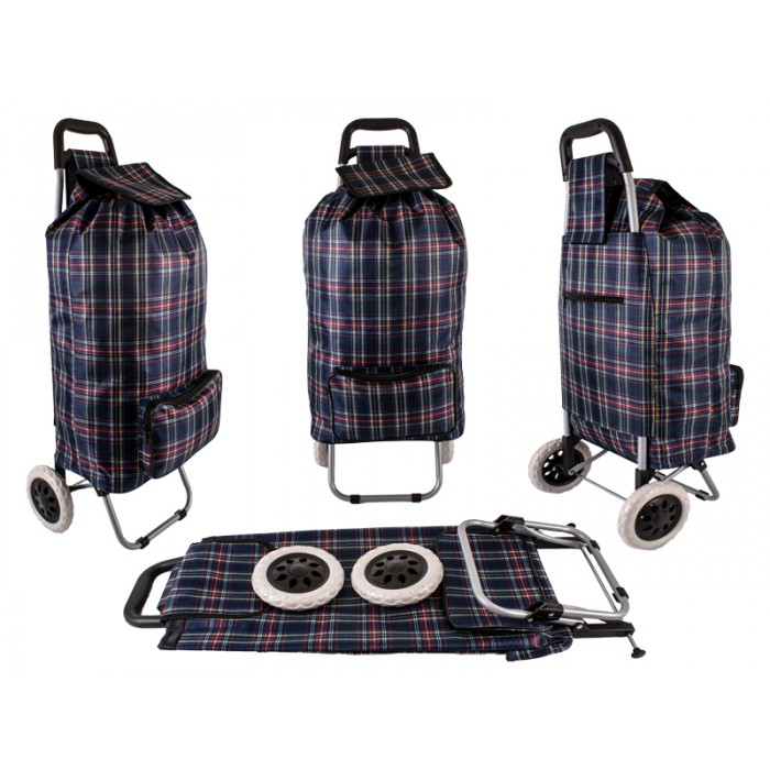 ST-CH-02 NAVY CHECK 2 WHEEL SHOPPING TROLLEY