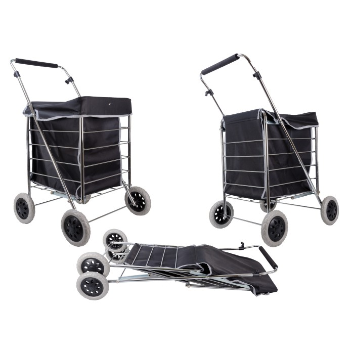 ST-NS-FOUR-01 BLACK MICROFIBRE 4 WHEELED TROLLEY