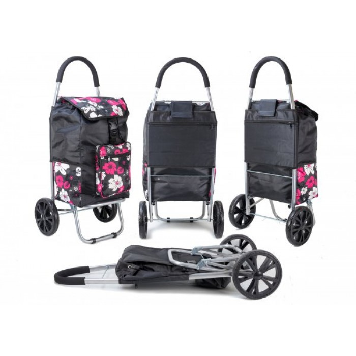 ST 07 COLLAPSABLE SHOPPING TROLLEY 2 WHEELS BLACK PINK FLOWER