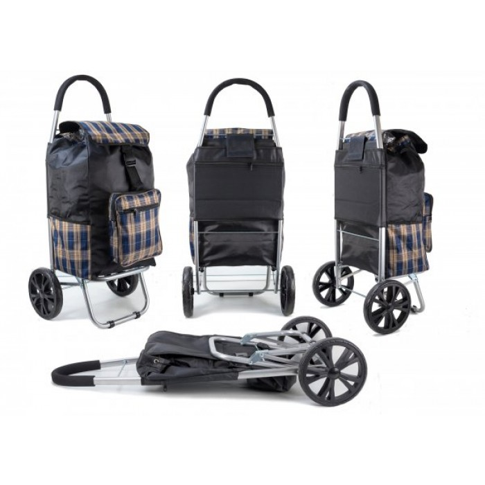 ST 07 COLLAPSABLE SHOPPING TROLLEY 2 WHEELS BROWN CHECK