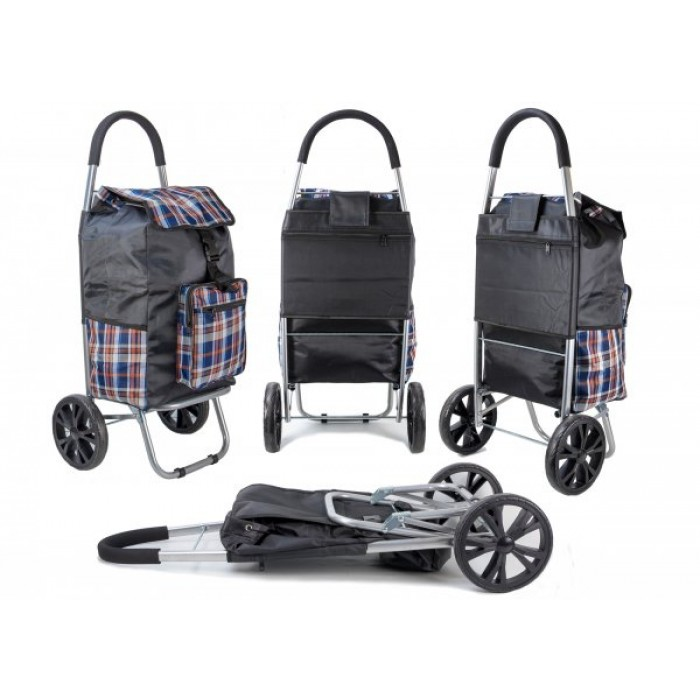 ST 07 COLLAPSABLE SHOPPING TROLLEY 2 WHEELS COFFEE CHECK