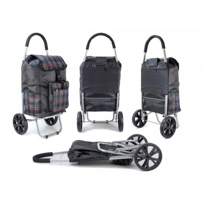 ST 07 COLLAPSABLE SHOPPING TROLLEY 2 WHEELS NAVY CHECK