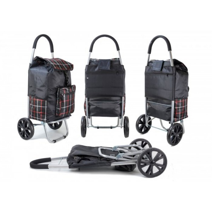 ST 07 COLLAPSABLE SHOPPING TROLLEY 2 WHEELS BLACK CHECK