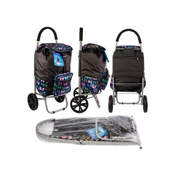 ST 07 COLLAPSABLE SHOPPING TROLLEY 2 WHEELS NAVY BUTTERFLY