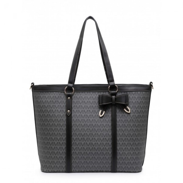 Z-9932-3 Black Shoulder Shopping Bag with Special Edition M Print