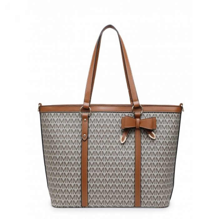 Z-9932-3 Brown Shoulder Shopping Bag with Special Edition M Print