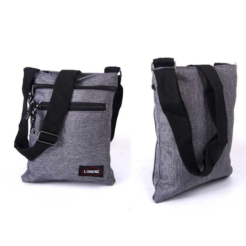 2510 GREY shoulder bag with 3 zips, adj strap