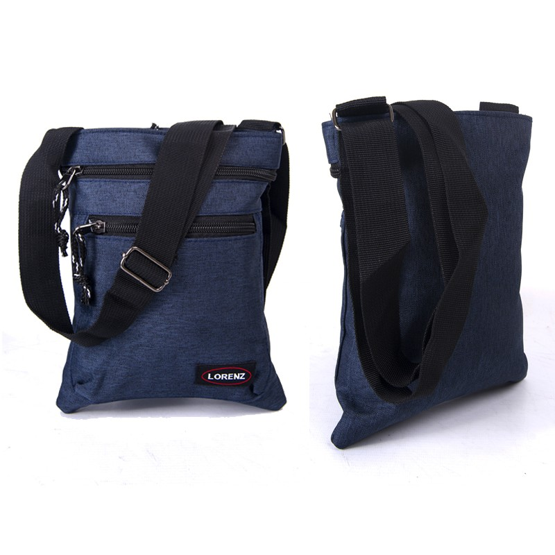2510 NAVY shoulder bag with 3 zips, adj strap