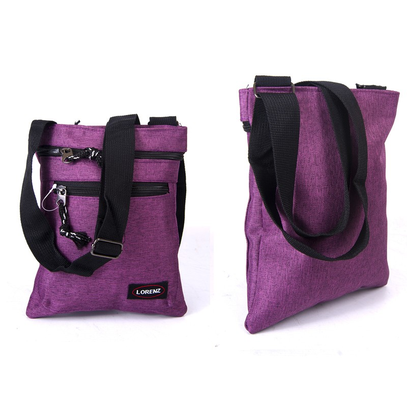 2510 PURPLE shoulder bag with 3 zips, adj strap