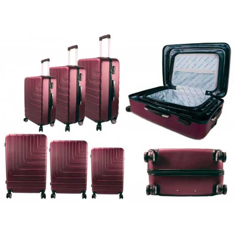 T-HC-02 SET OF 3 BURGUNDY