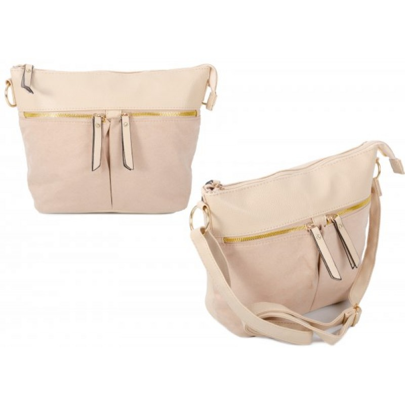 JBFB302 CAMEL PU CROSSBAG W/ 3 ZIPS & SOFT TOUCH MATERIAL