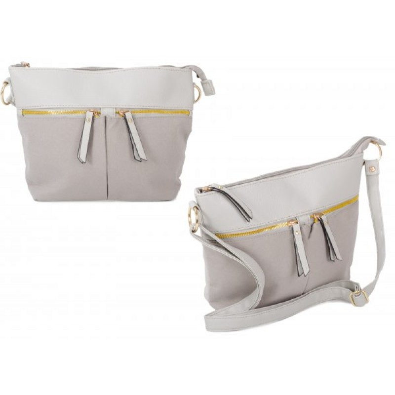 JBFB302 GREY PU CROSSBAG W/ 3 ZIPS & SOFT TOUCH MATERIAL