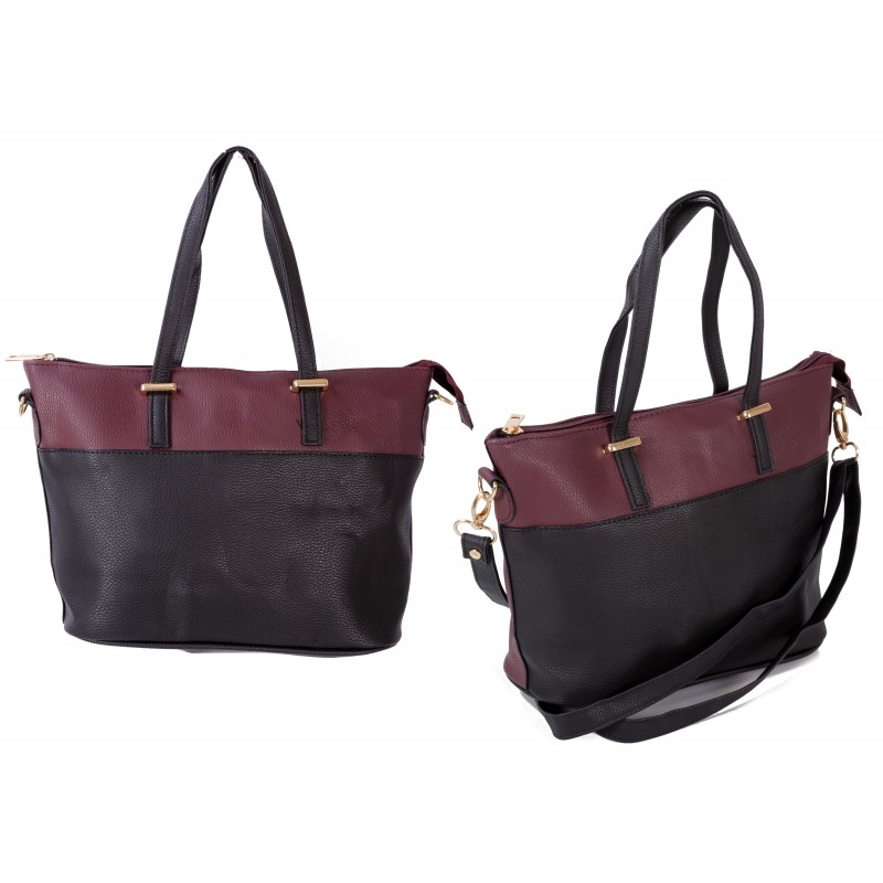 JBFB149B WINE/BLACK PU HANDBAG W/ SHOULDER STRAP